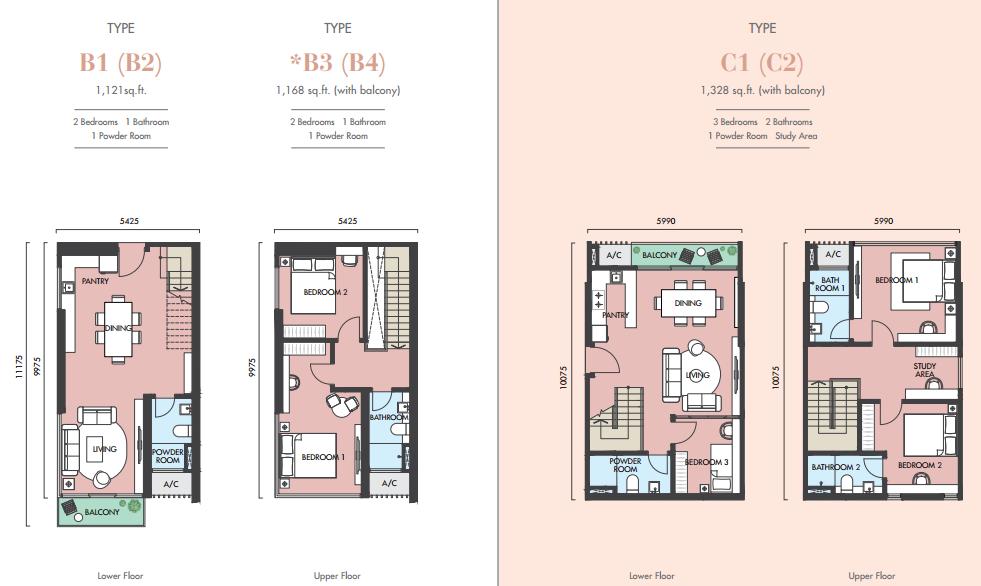 EkoCheras Apartment Tower H & J Floor Plans